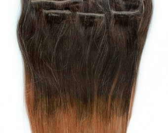 20inches 7pcs Clip In Human Ombre Hair Extensions T4/33