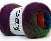 Madonna Red Purple Green Shades Blue    Ice yarn,  1 skein 100 gr,  knit scarf yarn,  Listing is for 1 skein - 100  gr yarn.
