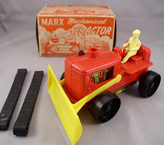 Vintage 1950's MARX Mechanical Tractor With Bulldozer