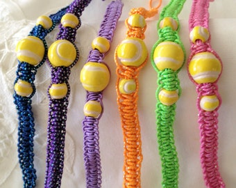 Fun Colorful Bracelets with Ceramic Tennis Balls with Button Closures