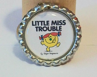 Cute Little Miss Trouble Inspired Flattened Bottlecap Pendant Necklace