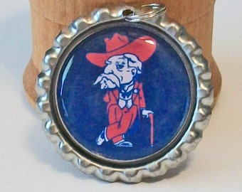 Red and Blue Ole Miss Rebel Inspired  Flattened Bottlecap Pendant Necklace