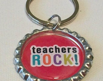 Bright Pink Multi Colors Teachers Rock Metal Flattened Bottlecap Keychain Great Gift