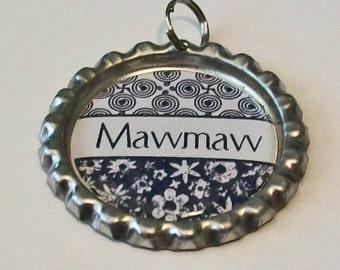 Black and White Damask Mawmaw Grandmother Flattened Bottlecap Pendant Necklace