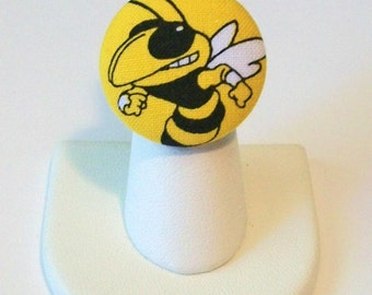 Large Gold and Black Georgia Tech Yellow Jackets Inspired Fabric Fashion Button Ring Adjustable Band