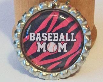 Zebra Stripe Baseball Mom Flattened Bottlecap Pendant Necklace