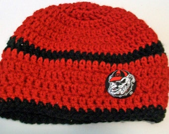 Georgia Bulldogs Inspired Red and Black Hand Crocheted Baby and Childrens Beanie Hat Great Photo Prop 5 Sizes Available