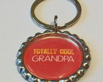 Bright Red Totally Cool Grandpa Grandfather Metal Flattened Bottlecap Keychain Great Gift