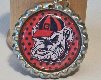 Fun Red and Black Poka Dot Georgia Bulldogs Inspired Flattened Bottlecap Pendant Necklace