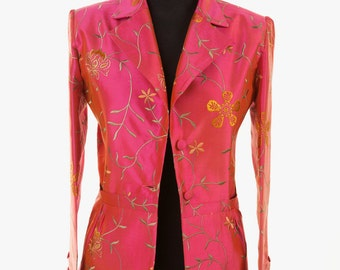 Silk Lotus Jacket in Schiaperelli Pink