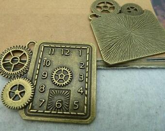 2pcs 40x50mm Antique Bronze  Clock Charms Pendants