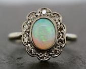Art Deco Opal Ring - Antique Opal & Diamond Ring 18ct White Gold
