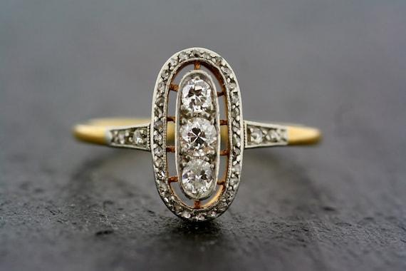 deco ring antique deco 18ct gold platinum