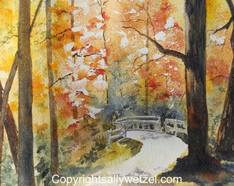 AUTUMN WALK - Original Watercolor Painting