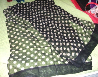 HALF PRICE SALE!!! Black Silk Chiffon Scarf with Ecru Dots