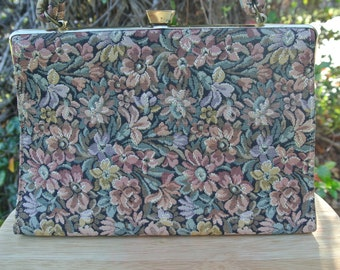 Vintage 50s Tapestry Floral Day Purse Handbag, Muted Colors with Gold