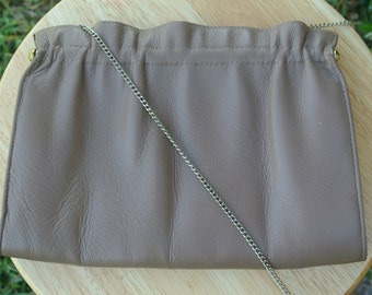 Vintage 80s Leather Clutch Taupe Nude Color with Chain Strap Excellent Cond.