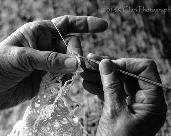 By Hand Black and white Fine Art photography portrait Mother Grandmother Crochet memories nostalgia gray warmth
