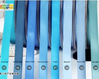 "Single faced Satin ribbon, Light blue III,  2"", 1-1/2"", 1"", 7/8"", 3/4"",5/8"", 3/8"", 1/4"""