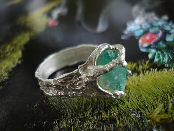 emerald ring rough raw uncut green emerald natural