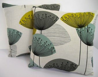 Sanderson Dandelion Clocks 50s Mid century Vintage Retro cushion cover - Chaffinch