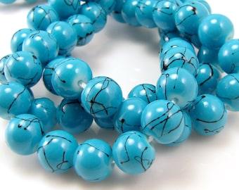 Turquoise Blue - Black Splatter 8mm Round Glass Beads Full Strand S3