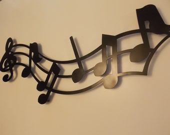 Musical Notes Metal Wall Art in Black or Rust  Finish