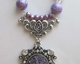 Purple Rose Cameo Bead Necklace