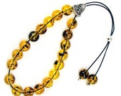 Greek Komboloi Worry Beads with Quality Plastic Beads & Carved Metal Shield Bead