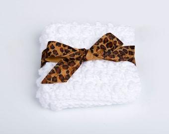 Crochet Scrubbie, Cotton Spa Washcloth- white