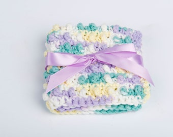 Washcloth- Crochet Cotton Spa Scrubbie- variegated pastels