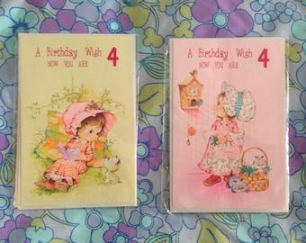 Retro Vintage birthday cards - 4 years old