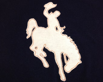 Wyoming Rodeo Cowboy on Bucking Horse State Symbol - Machine Applique and Embroidery Design - 6 Versions and multiple sizes