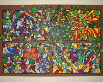 Stained Glass Windows with Ivy