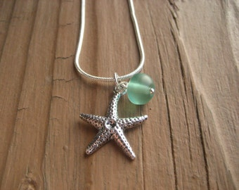 Beach Necklace Starfish Necklace Sea Glass Necklace Summer Wedding Sterling Silver Gift Bridesmaid Beach Wedding Beach Necklace Nautical