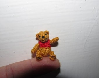 Scale dollhouse miniature bears Winnie The Pooh tiny crochet micro Amigurumi perfect gift