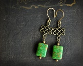 Brass Earrings Chinese Knot with Green Aqua Terra Earrings.