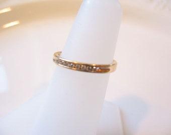 Estate 14 KT Yellow Gold Diamond Anniversary Ring