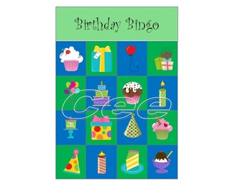Birthday Bingo, Birthday Party Game, Children Bingo Game, Printable Bingo Game, Instand Download Party Game