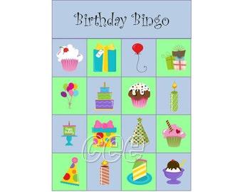 Birthday Bingo, Birthday Party Game, Children Party Game, Instant Download Birthday Game