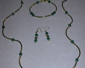 Emerald Rondalles with gold tubes necklace set