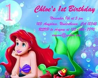 Personalized Disney Little Mermaid Ariel Birthday Invitation DIY Digital Download