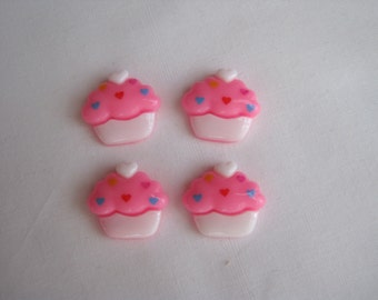 4 pink flatback cup cakes / Resin/ Cabochon/ birthday/ baby girl/ hair bow/ scrapbooking/ embellishment/ wholesale/ bulk