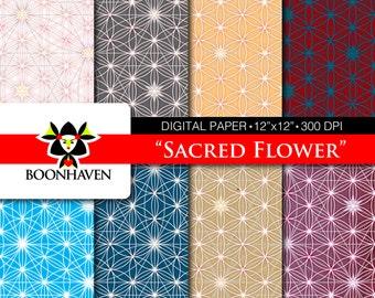 """Digital Paper - Sacred Flower 8-pack 12""""x12"""" 300dpi"""