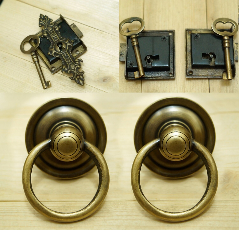 2 set left right side antique key lock and skeleton keys for Key drawer handles