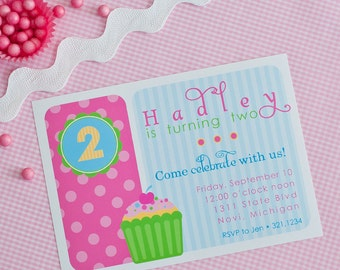 Sweet Celebration Cupcake Birthday - Printable Customized Invitation