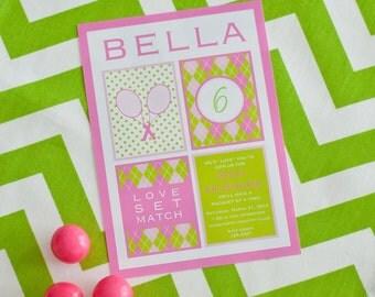 Tennis Preppy Sports Birthday - Pink or Blue - Printable Customized Invitation