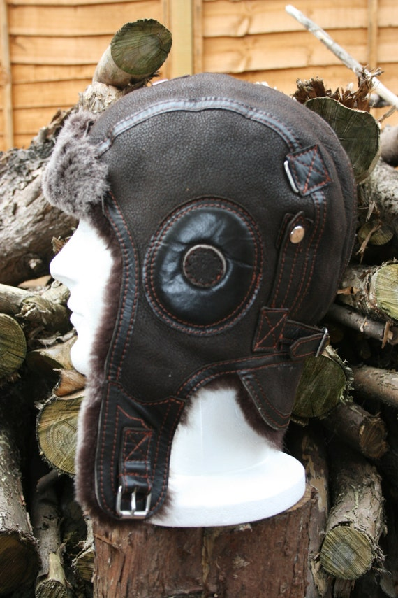 SHEEPSKIN LEATHER Aviator TROOPER Bomber Winter Hat Brown