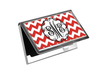 Custom, personalized, monogrammed red chevrons business card holder