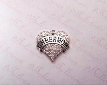 Antique Silver Cheer Mom Cheerleader Cheerleading Heart Crystal Pendant Sports Charm